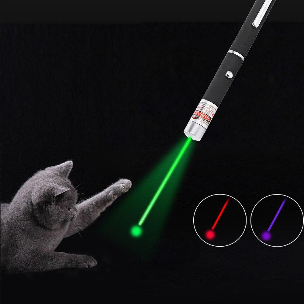 Láser LED de juguete para gatos, punto rojo de 5MW, juguete con luz láser, 530Nm, 405Nm, 650Nm, puntero, juguete interactivo con Gato
