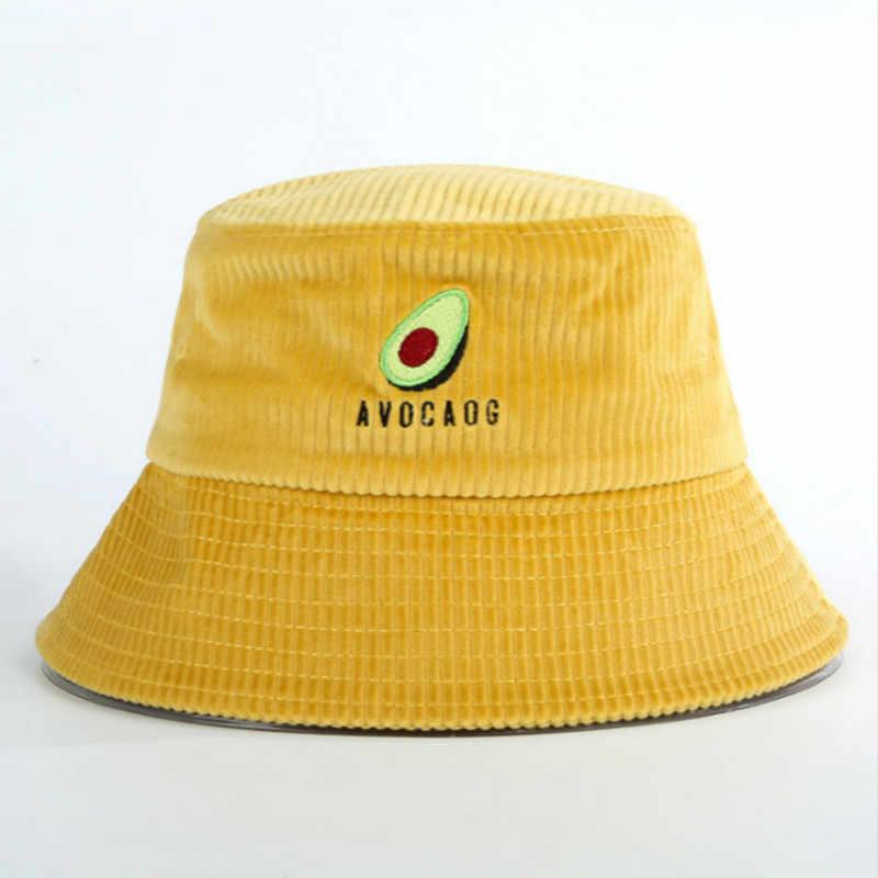 Wędkarstwo awokado kapelusz dla kobiet szerokie rondo haft owocowy kapelusz typu bucket wiosna zima sztruks Panama owoce mężczyźni rybacy czapka przeciwsłoneczna