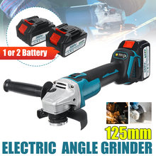 125mm sem fio angle grinder máquina de corte ferramenta elétrica moedor com 1/2 bateria de lítio-íon para makita 18v bateria