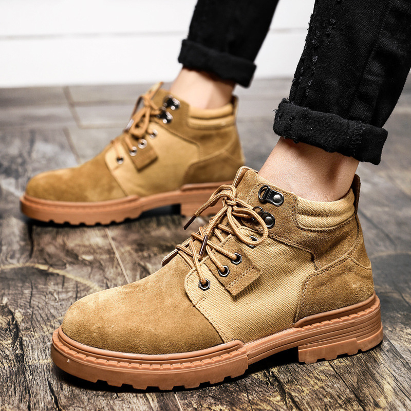 2020 Spring Autumn Boots Men Genuine Leather Shoes Men Ankle Boots Cow Leather Male Breathable Canvas Shoes KA2018