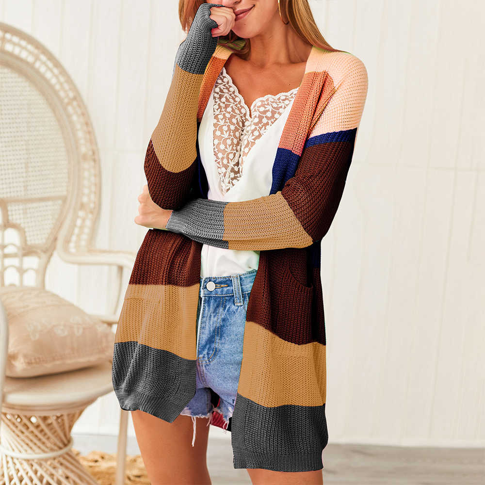 CALOFE женский осенний свитер с длинным рукавом, вязаный кардиган с открытой передней радужной полоской, Женское пальто, Sueter Mujer Invierno