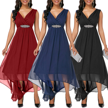Women Chiffon Dress Sexy Sleeveless Hollow Out Party Mini Prom Solid Pleated Asymmetrical Straight D30