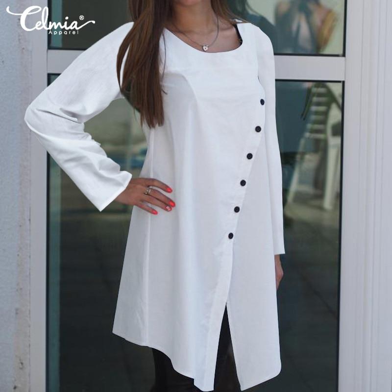 Femmes Vintage asymétrique Blouses grande taille tops tuniques Celmia 2019 automne manches longues décontracté boutons lâche Blusas Femininas 5XL