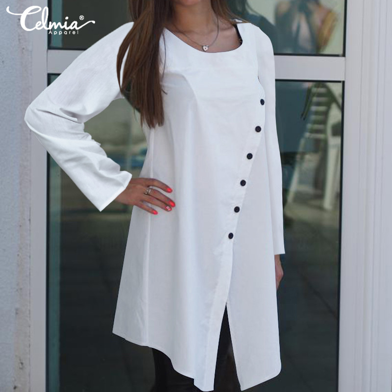 Women Vintage Asymmetrical Blouses Plus Size Tunic Tops Celmia 2019 Autumn Long Sleeve Casual Buttons Loose Blusas Femininas 5XL