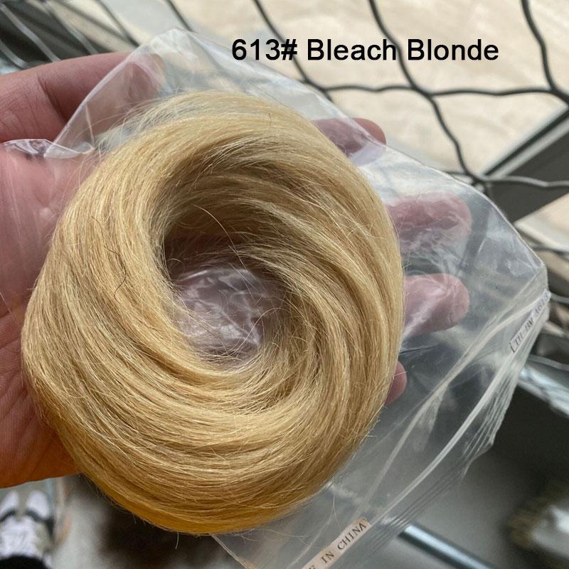 Sego, европейские человеческие волосы, не Реми, резинка, шиньон, 23 г, черный, коричневый, натуральный, Dount, шиньон, 6 цветов, человеческие волосы, чистый цвет - Цвет: #613
