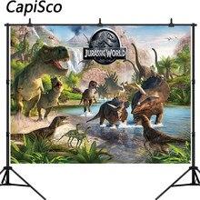 Capisco jurássico mundo dinossauro parque pano de fundo fotografia criança festa de aniversário banner chá de fraldas fundo foto estúdio prop