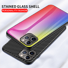 For iphone 11 Pro Max Case Painted Carbon Fiber Tempered Glass Back Cover Phone 2019 Mirror
