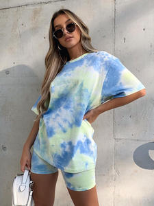 IAMHOTTY   Tie Dye Print Basic Tshirt Shorts Two Piece Set Women Casual Outfits lounge Wear Jogging Femme Biker Shorts Tees Summ