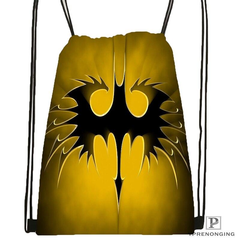 Custom Batman Logo Style  Drawstring Backpack Bag Cute Daypack Kids Satchel (Black Back) 31x40cm#180531-02-05