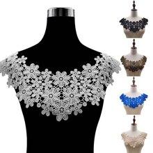 Tela de encaje de alta calidad, apliques bordados para escote, vestidos de flores DIY, apliques para cuello, suministros de costura, 38 colores