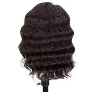 Pelucas de cabello humano Rebeca para mujeres negras, peluca con parte de encaje, pelo Natural pre-arrancado, nudos blanqueados, cuerpo corto suelto, largo medio