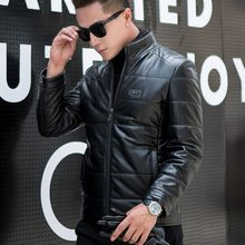 Men's 100% leather shirt, collar, top, shorts, motorcycle coat, sheepskin leather coat in winter(China)