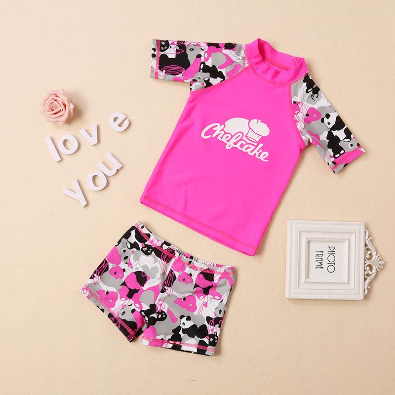 2018 Zhuo Siong Qi New Style KID'S Swimwear Korean-style One-piece Men And Women Child Baby Boxer Short Sleeve Hot Springs Swimw