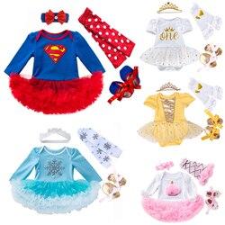 Novo meu primeiro aniversário roupas da menina do bebê recém-nascido superman trajes bebe bebê tutu macacão rendas menina vestido sapatos 4 pçs conjunto de roupas