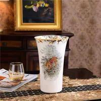 European Tiger Bone China Vase On Glaze High Quality Ceramic Flower Vase Green Plant Flowerpot Office Home Decoration