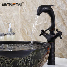 Basin Faucets Dolphin Black Bathroom Taps Classic Vanity Lavatory Home Decoration High Arch Dual 2 Handle Swivel Crane SY-3337R(China)