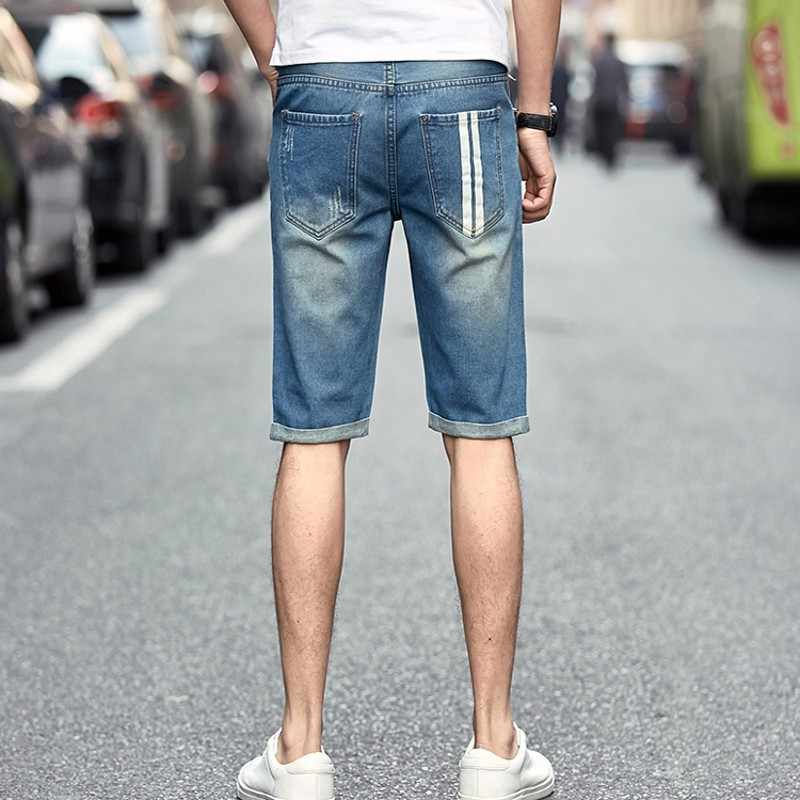 2020 New Summer Mens Denim Shorts Hole Ripped Cowboy Streetwear Big Boy Knee Length Slim Fit Short Jeans Size 28-36 Casual Pants