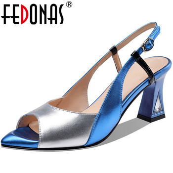 FEDONAS Back Strap Mixed Colors Women Sandals Genuine Leather High Heels Pumps 2020 Spring Summer Working Wedding Shoea Woman