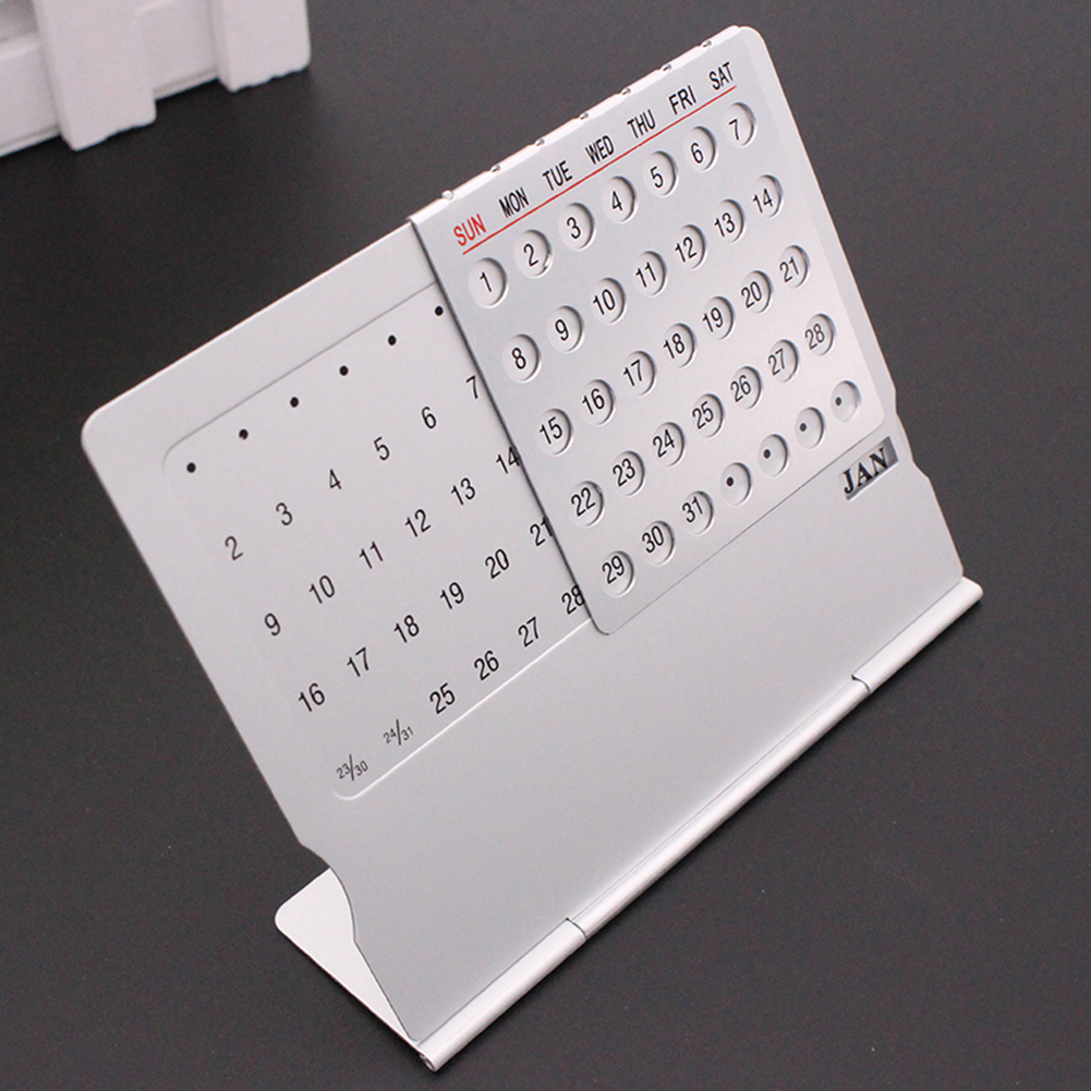 2020 Adjustable Super Perpetual Calendar Stainless Steel Office Desktop Calendar Home Room Decoration Supplies Practical Present