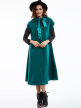Christmas party rode Lange cape jas Vrouwen herfst boog capes met kap mouwloze uitloper Xmas winter jassen wol blends poncho 2019(China)