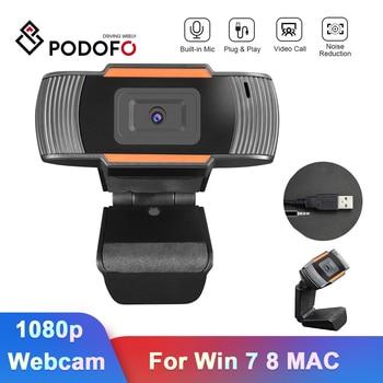 Podofo Webcam 1080p, Webcam Full HD, Webcam con enchufe USB y micrófono para cámara web, Win 7 8 funda para MAC, Android, ordenadores portátiles, ordenador
