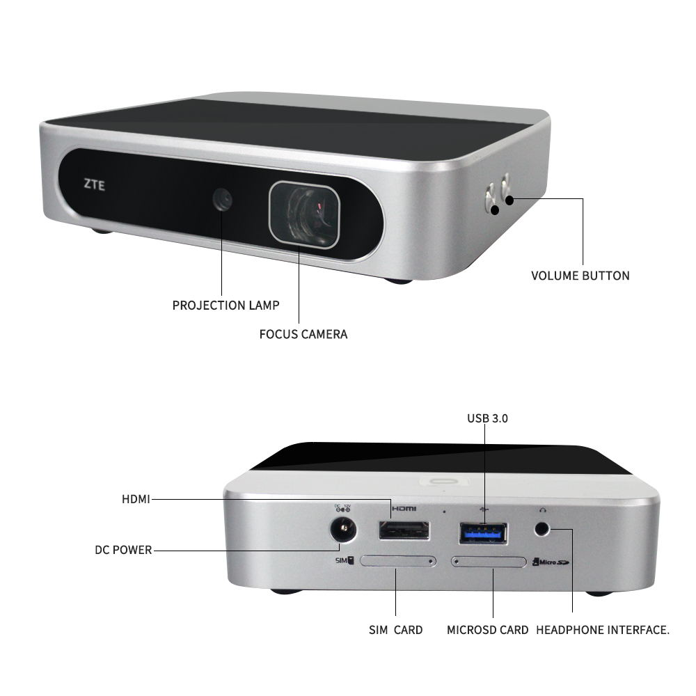 ZTE Spro2 LTE Band1/3/7/38/39/40/41 UTMS B1/2/5/8 HD Smart Andorid4.4 Projector MiFi Share Router