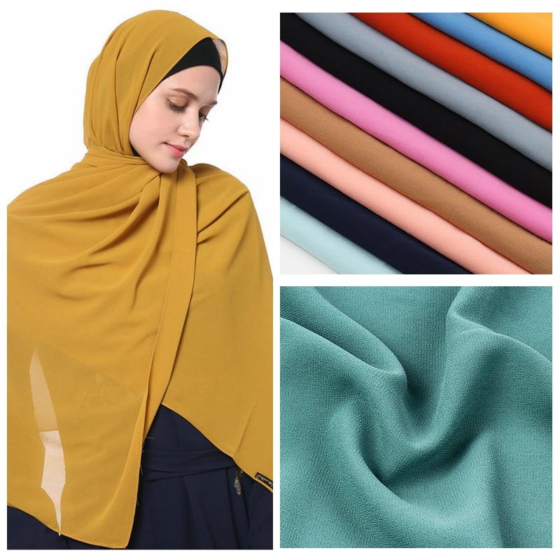 2020 New Elegant Modest Women Bubble Chiffon Solid Oversizes Muslim Head Scarf Ladies Shawl and Wrap Female Foulard Hijab Stoles|Women