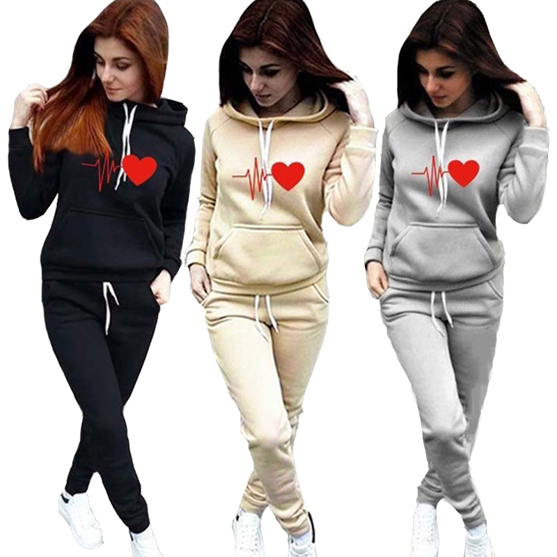 Women's Tracksuit Hoodies 2 Piece Set Sweatshirt + Pants Women Sport Suit Spring And Autumn Sportswear