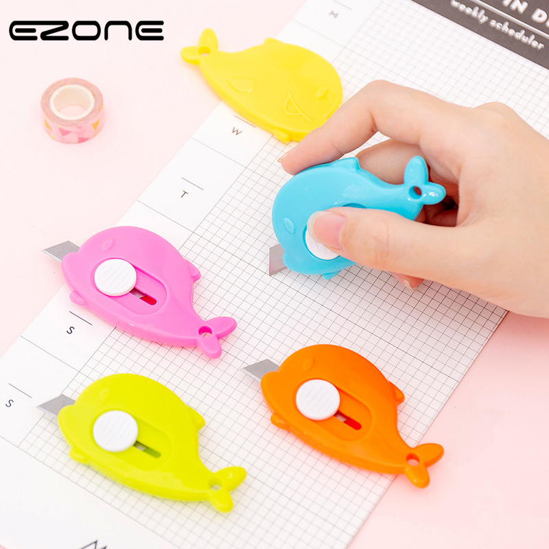 EZONE 1PC Candy Color Whale Art Knife Mini Portable Knife Office Cutting Supplies Scalable Security Knife School Office Supply