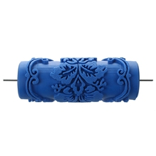 Малярный ролик с декоративными мотивами для машинного дизайна цветы/синий 15 см