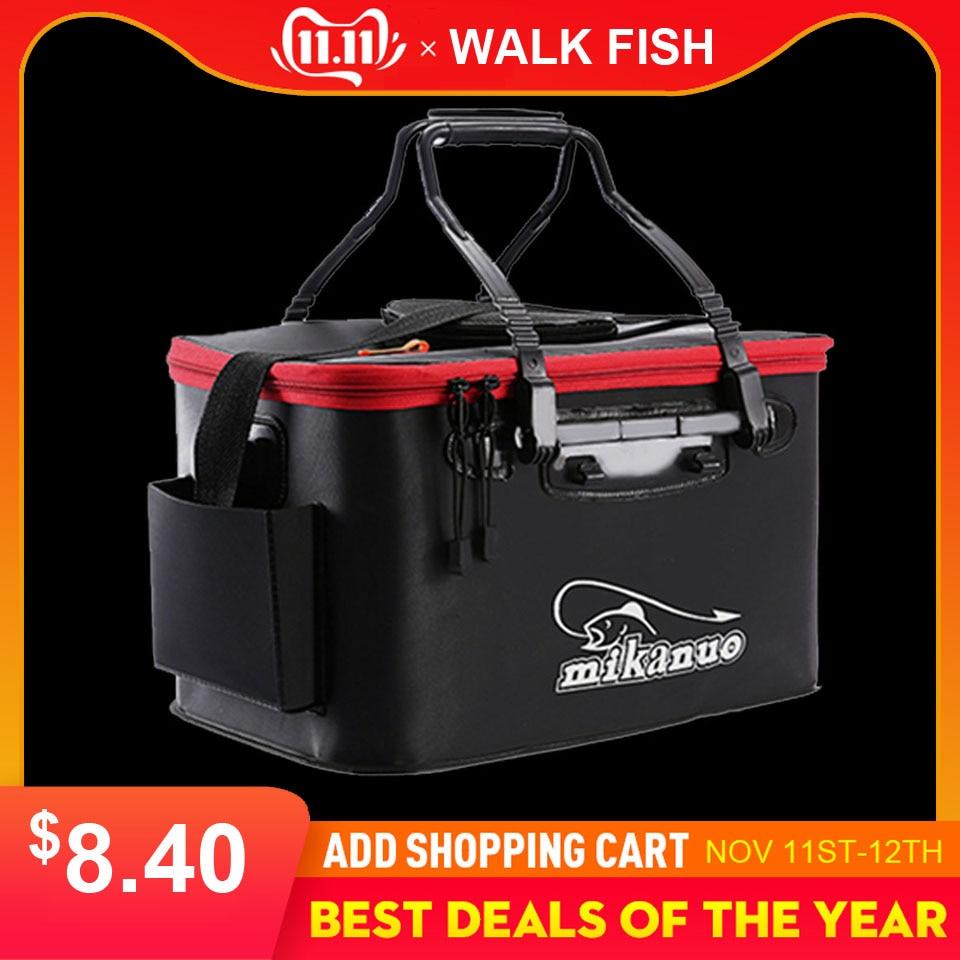 WALK FISH Portable EVA Fishing Bag Collapsible Fishing Bucket Live Fish Box Camping Water Container Pan Basin Tackle Storage Bag