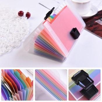 High Capacity Plastic A6 File Folder Colorful Rainbow 13 Pockets Paper Document Organ Bag Office School