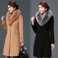 High Quality Fur Collar Women Wool Coat Black Khaki Womens Coats Winter Long Casual Slim Elegant Woman Coats Fashions Korean