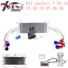 цена на Universal 15 row oil cooler AN10 15 rows engine radiator + for BMW N54 135i 335i oil filter adapter XXUOL15-8SL/BK