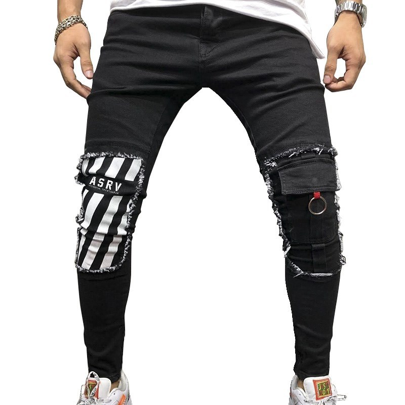 ASRV Men Stretchy Ripped Skinny Biker Embroidery Print Jeans Destroyed Hole Taped Slim Fit Denim Scratched High Quality Jean