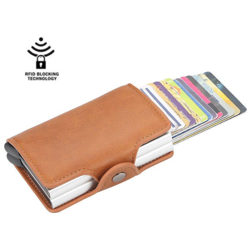 Double Aluminium Box Men And Women Business Credit Card Holder With RFID Vintage Business Travel Card Wallet  Leather Wallet