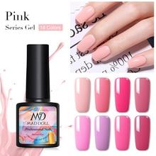 MAD DOLL 8ml Pure Nail Color Gel Polish Pink Series Soak Off UV Art Varnish One-shot Manicur