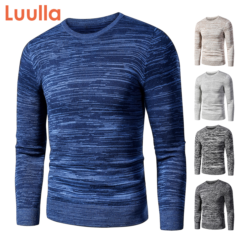 Fleece Sweater Pullovers Men Jacquard Mixed-Color Thick Vintage Autumn Casual Winter