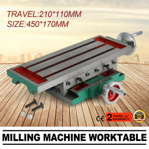 NEW 17.7x6.7 Inch Cross Milling Machine Compound 2 Axis 4 Ways Working Table Drill Stands