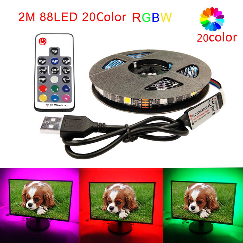 5050 USB LED Strip Light DC 5V RGBW Remote Controller Glow Living Room LED Ribbon Lamp Tape TV Background Lighting