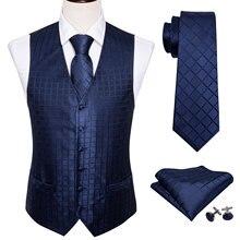 Синий жилет для мужчин облегающий костюм жилет клетчатый жилет Шелковый клетчатый галстук набор платок запонки галстук для бизнеса Барри. Ван