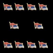 10PCS Serbia Country Flag Lapel Pin Waving Made of Metal Souvenir Hat Men Women Patriotic croatia country flag lapel pin made of metal souvenir hat men women waving epoxy flag lapel pin