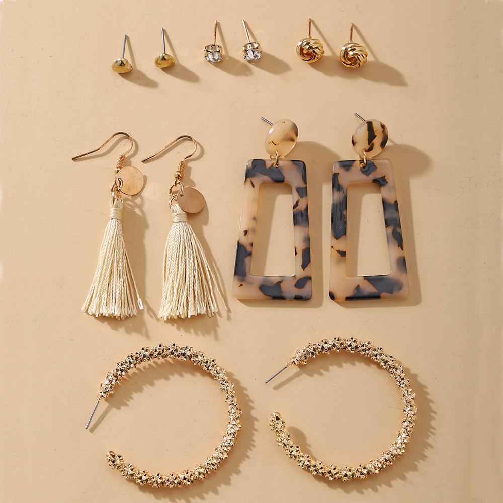 IF ME Vintage Big Round Circle Twist Pearl Earrings for Women Tassel Pendant Drop Earrings Set Acrylic Crystal Earring Jewelry