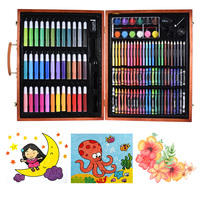148pcs Deluxe Art Set for Kids with Wooden Case Color Markers Pencils Crayons Oil Pastels Watercolor Painting Supplies
