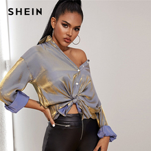 SHEIN Button Front Drop Shoulder Metallic Glamorous Blouse Shirt