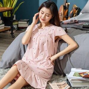 Image 5 - 2019 sommer Kleine Blumen Nacht Kleid Frauen Nachthemd Plus Größe 3XL Sleep Kurze ärmel Nachthemd Nachthemd Baumwolle Nachtwäsche
