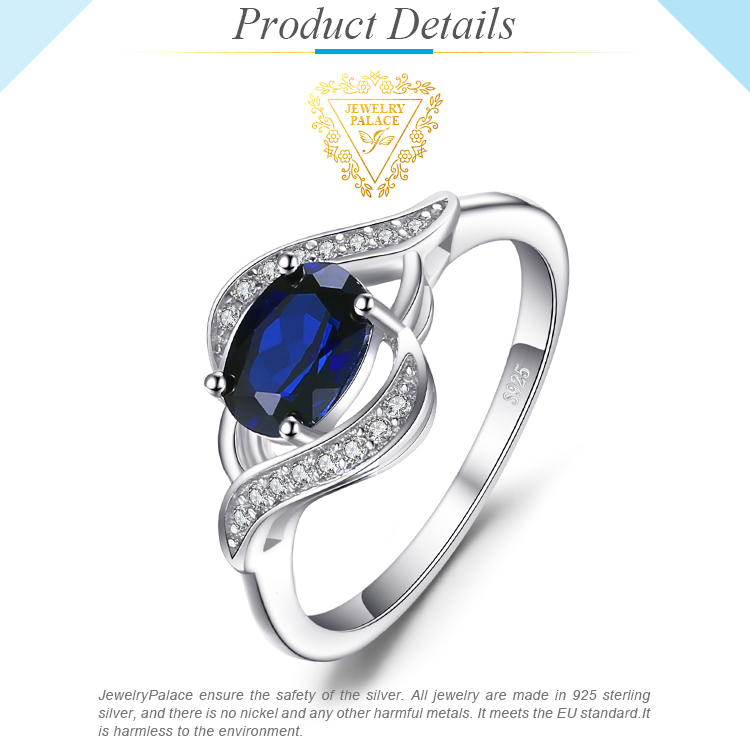 H6c6ef7c65a9f4d68a6d68a228bd1005fe Jewelrypalace Created Blue Sapphire Ring 925 Sterling Silver Rings for Women Halo Engagement Ring Silver 925 Gemstone Jewelry