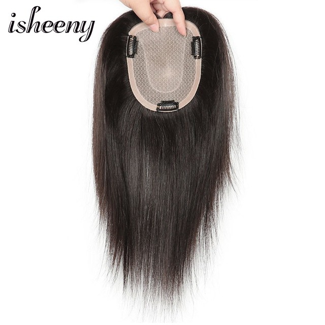 """8"""" 10"""" 12"""" Human Hair Topper Wig For Women 12*14 Breathable Fine MONO U Style With Clip In Hair Toupee Remy Hairpiece 1"""