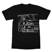 2019 Fashion Hot sale 100% cotton Japan Classic Car Skyline R34  JDM TUNER CAR APPAREL TURBO GT-R AUTOMOTIVE T-SHIRT Tee shirt