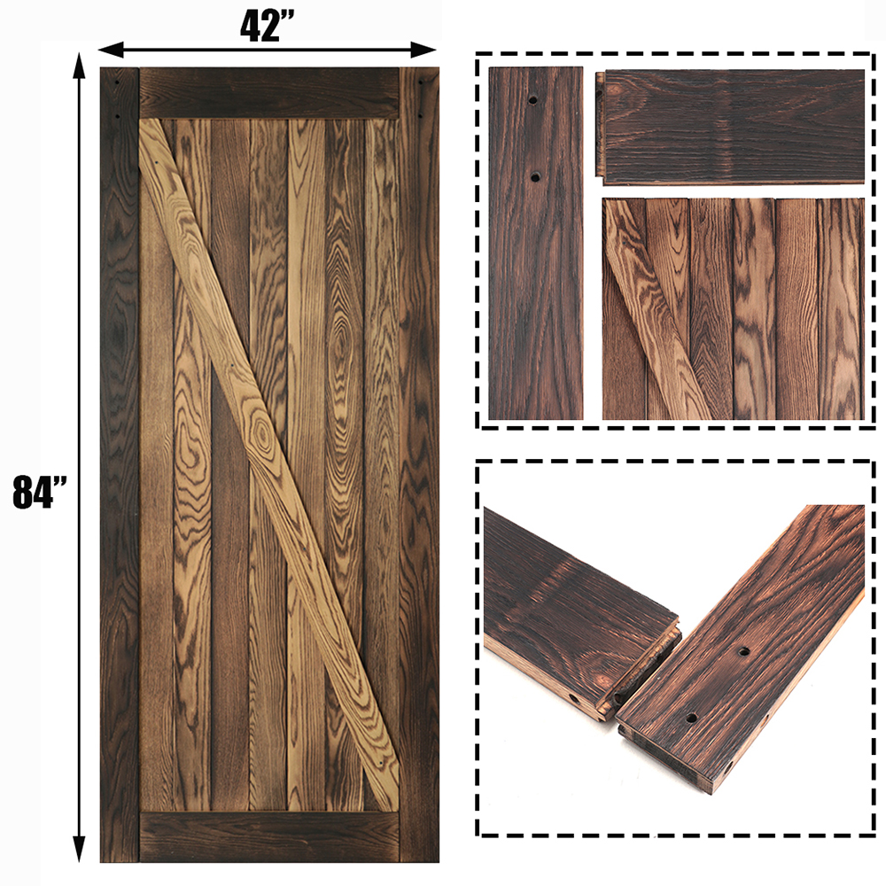 KINMADE 1-1/2in X 42in X 84in  Carbonized Solid Pine Pre-Drilled DIY Barn Door Sliding Wood Door
